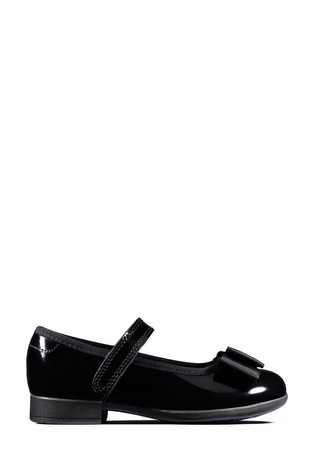 Clarks Black Pat Scala Tap T Shoes