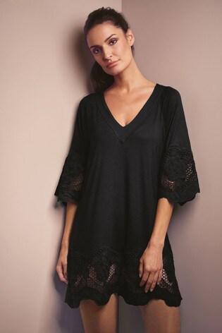 Fantasie Black Dione Crochet Trim Tunic Cover Up