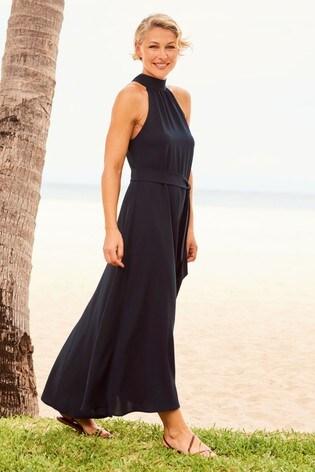 Navy Emma Willis Halter Neck Dress