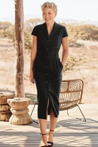 Black Emma Willis Twill Belted Dress