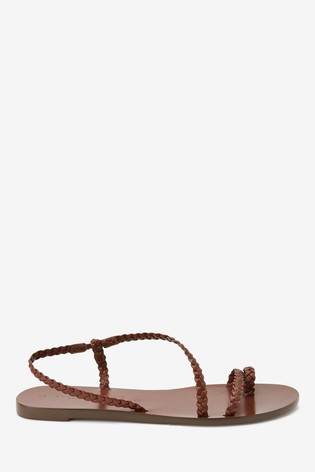 Tan Emma Willis Plait Toe Loop Sandals