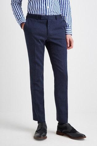 Moss London Skinny Fit Navy Linen Trouser