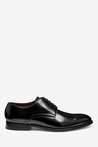 Black Hi-Shine Signature Leather Plain Derby Shoes