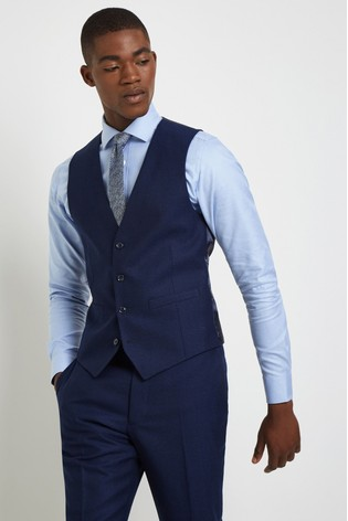 French Connection Slim Fit Ink Flannel Waistcoat