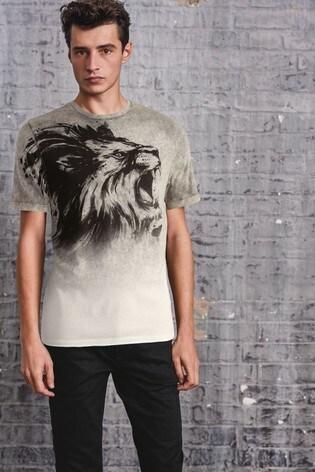 Grey Dip Dye Lion Graphic T-Shirt