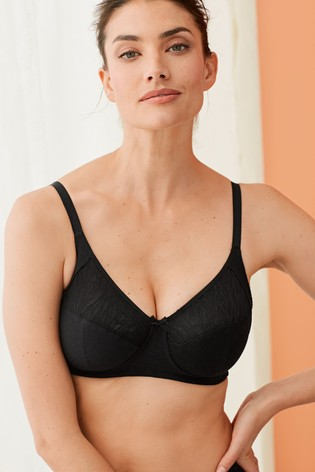 Black Cotton Total Support Non Wired Full Cup Daisy Bra