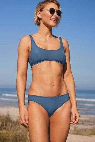 Blue Emma Willis Textured Crop Bikini Top