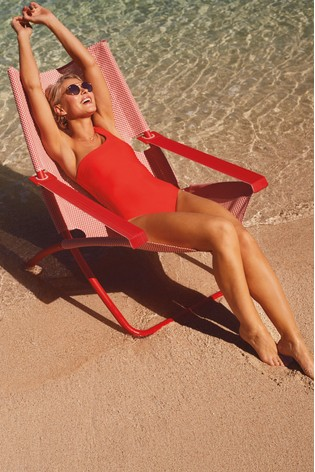 Red Emma Willis One Shoulder Swimsuit