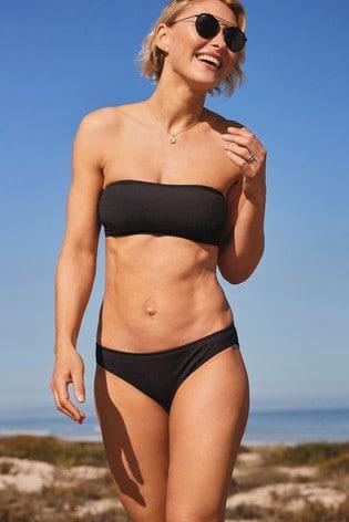Black Ribbed Emma Willis Bandeau Bikini Top