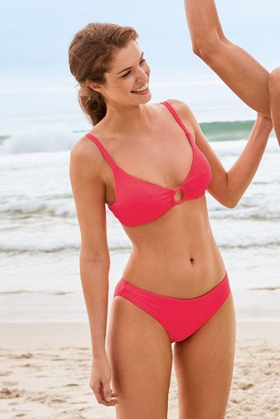 Pink Ribbed Non Pad Underwired Bikini Top