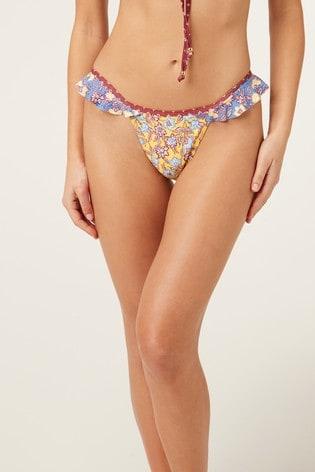 Yellow Piha Floral Print Frill High Leg Bikini Briefs