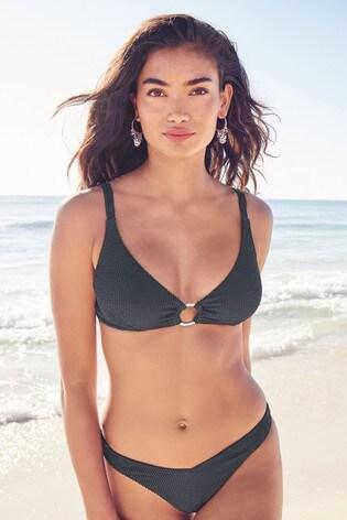 Charcoal Textured Non Pad Underwired Bikini Top