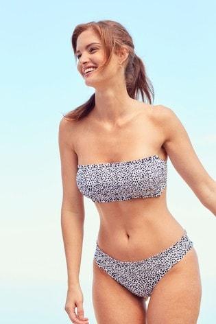White Dalmatian Shirred Bandeau Bikini Top
