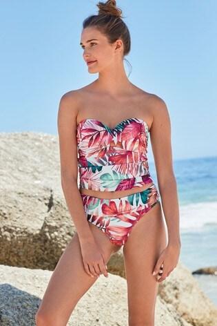 White Palm Roll Top Bikini Briefs