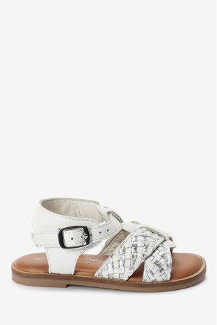 White Leather T-Bar Plait Sandals (Younger)