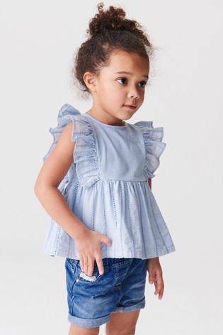 Blue Broderie Blouse (3mths-7yrs)