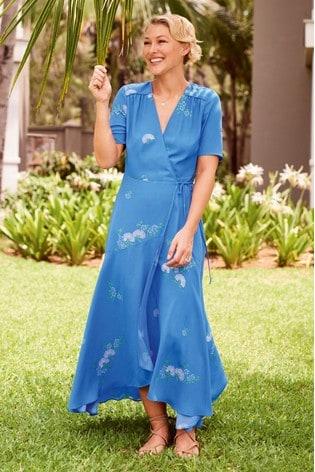 Blue Emma Willis Printed Wrap Dress