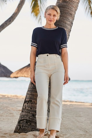 Navy Tipped Emma Willis Crew Neck Knitted T-Shirt