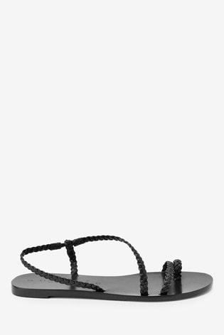 Black Emma Willis Plait Toe Loop Sandals