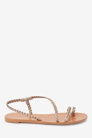 Gold Emma Willis Plait Toe Loop Sandals