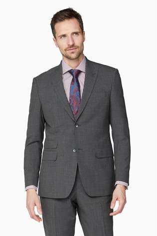 Jeff Banks Grey Regular Fit Travel Suit Jacket