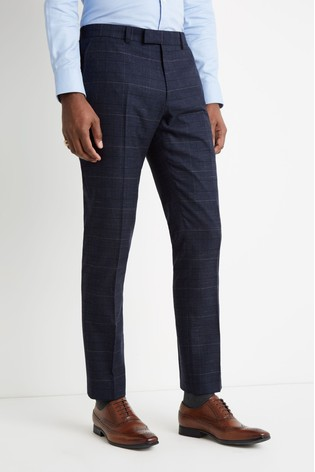 Moss 1851 Tailored Fit Navy Black Check Trousers