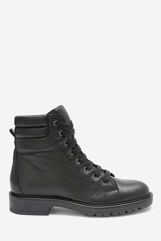 Buy Black Chunky Lace Up Ankle Boots