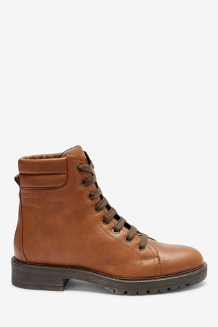 Tan Chunky Lace Up Ankle Boots
