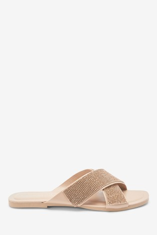 Rose Gold Forever Comfort® Jewelled Cross Mules