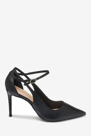Black Signature Cut-Out Court Shoes