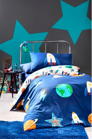 Space Icons Reversible Duvet Cover And Pillowcase Set