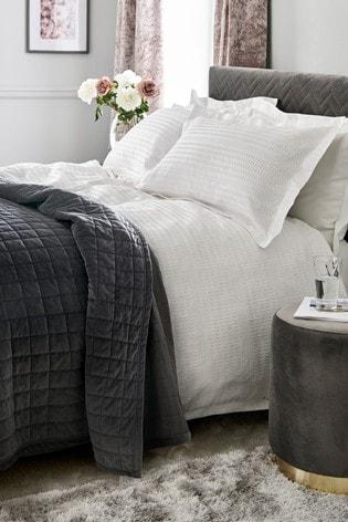 Textured Jacquard 100% Cotton Duvet Cover And Pillowcase Set