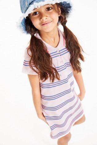 Pink/Fluro Polo Stripe Dress (3-16yrs)