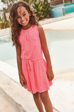 Fluro Pink Twist Back Dress (3-16yrs)