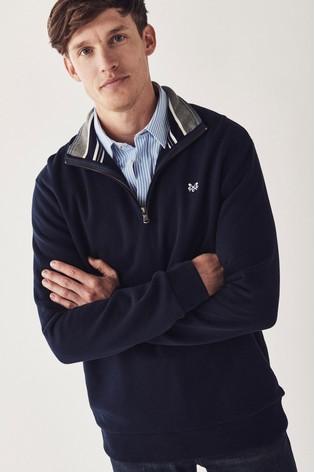 Crew Clothing Company Blue Classic 1/2 Zip Sweater