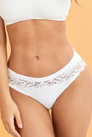 White Organic Cotton And Lace High Leg Knickers