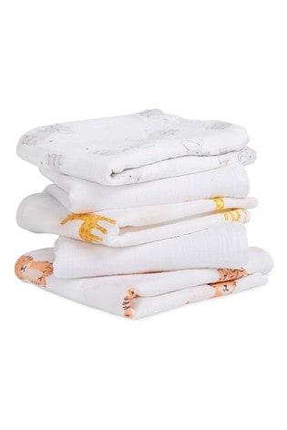 aden + anais Essentials White Muslin Squares 5 Pack