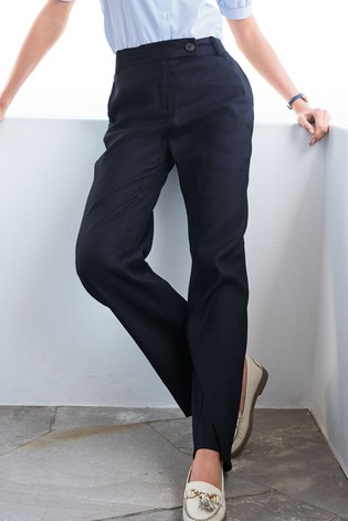 Navy Linen Blend Boot Cut Trousers