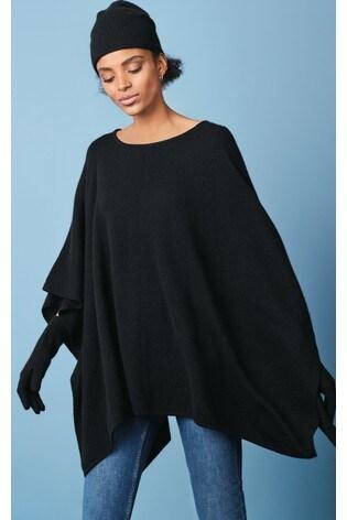 Black Cashmere Poncho