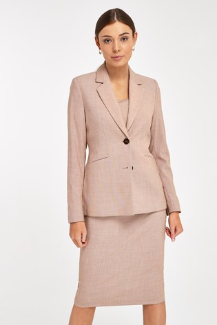 Terracotta Sharkskin Texture Tailored Jacket