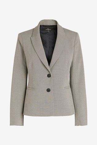 Neutral Check Single Breasted Jacket