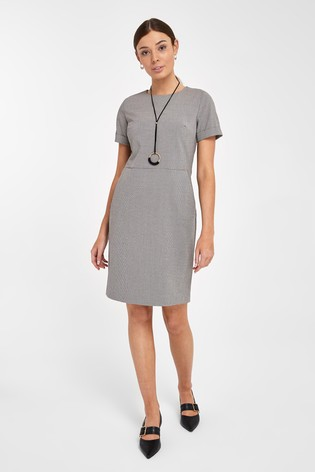 Neutral Check Tailored Shift Dress