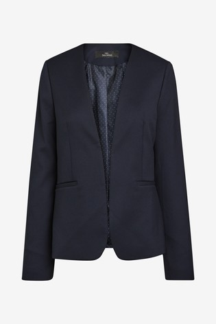 Navy Collarless Tailored Suit Jacket