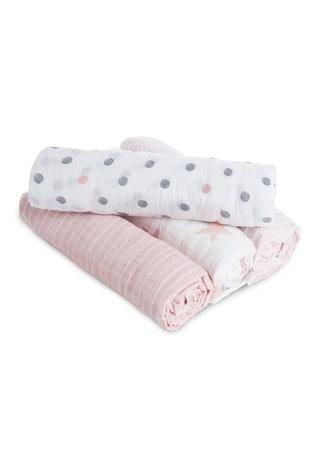 aden + anais Essentials Pink Muslin Swaddle Blanket 4 Pack