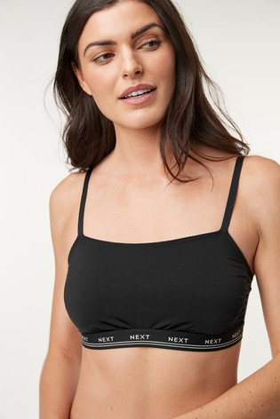 Black Daisy Non Padded Logo Crop Tops Two Pack