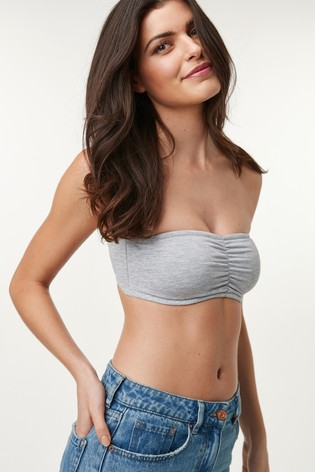 Grey/Pink Jamie Cotton Rich Bandeau Bras Two Pack