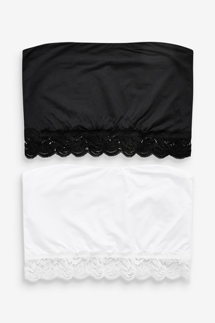 Black/White Jamie Non Padded Longline Microfibre Bandeaus Two Pack