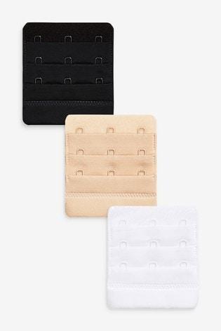 Black/White/Nude 3 Hook Bra Extender 3 Pack