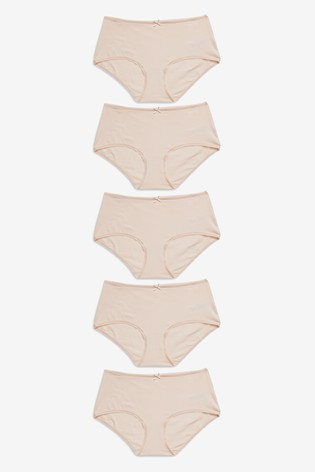 Nude Midi Cotton Knickers 5 Pack