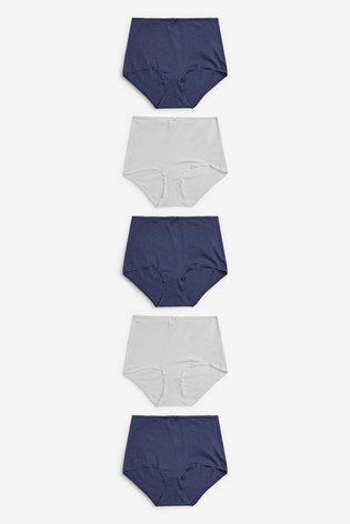 Navy/White Full Brief Cotton Knickers 5 Pack